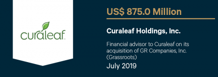 CuraleafHoldingInc_US$875.0M_July2019_Advisory