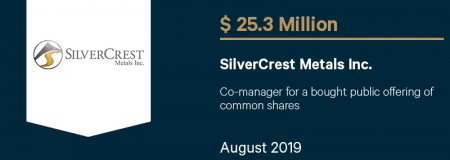 SilverCrestMetalsInc_$25.3M_August2019_CorporateFinance